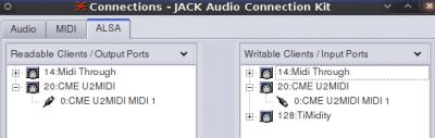 Il U2MIDI tra le porte di input/output di Qjackctl